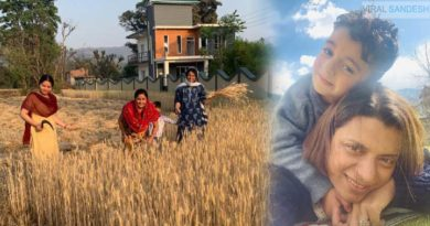 rangoli ranaut with son working in farm