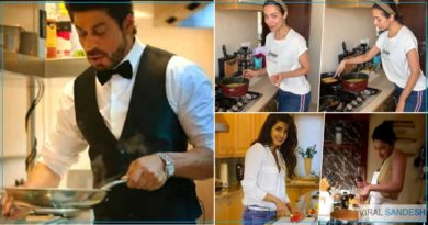 Bollywood Celebrity cooking in kitchen